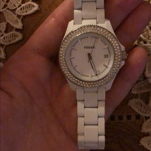 Brand new never worn white fossil watch